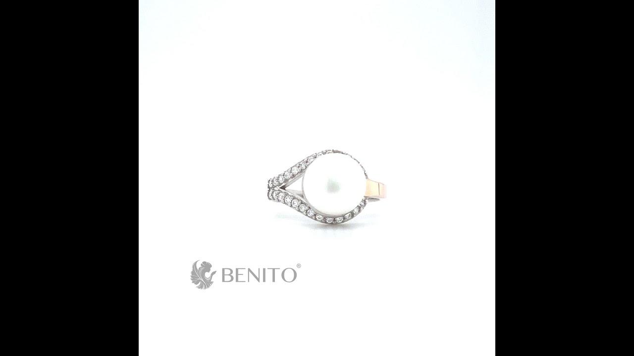 Lidia Ring White Pearl and Zircon Stones