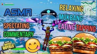 ASMR Gaming 🤤🍔 Fortnite Mukbang Eating Hamburgers Commentary + Tapping 먹방 🎮🎧 Relaxing Whispering 😴💤