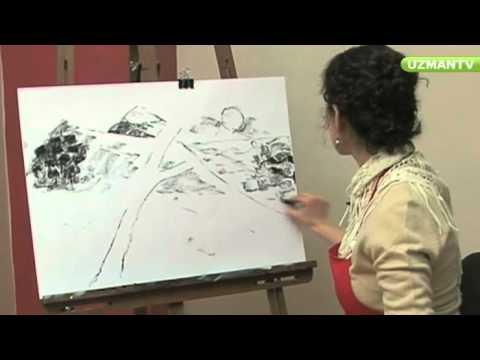 Karakalem Manzara Resminde Deniz Çizme