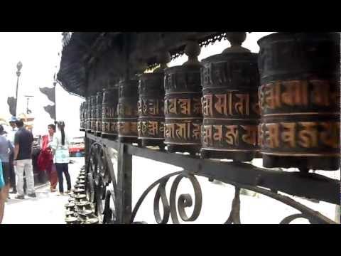 Spinning Prayer Wheels in Kathmandu, Nepal at the Monkey Temple