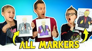 ALL MARKERS CHALLENGE w/ our DAD!!!
