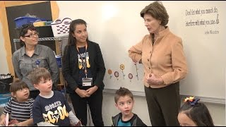 Former First Lady Laura Bush visits ECDC