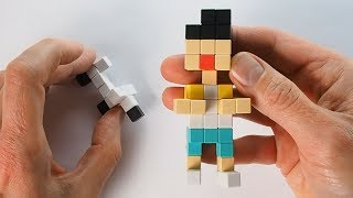 Boy and a Dog - pixel art style creative tutorial for kids with magnetic cubes