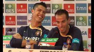 Cristiano Ronaldo e Petit à gargalhada (CLP-TV)