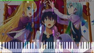 Isekai wa Smartphone to Tomo ni. Opening - Piano Tutorial ♪ Synthesia + Midi ♪