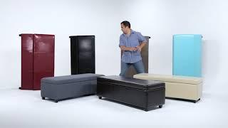 Simpli Home Avalon Large Storage Ottoman Bench | New Colors