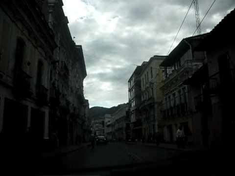 Driving through colonial streets of Quito, Ecuador, Part 1