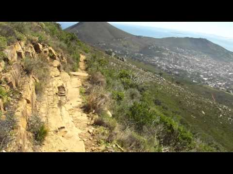 Hard narrow rocky trekking up Table Mountain Cape Town Kapstadt Tafelberg South Africa