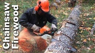 Using A Chainsaw To Cut Firewood - GardenFork