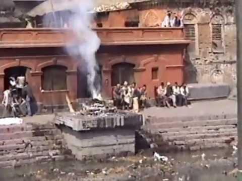 Cremations by the Pashupatinath Temple, Katmandu, Nepal, 2001.