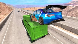 High Speed Jump - Destroying a Car #4 (BeamNG Drive Crashes)