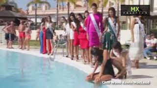 Candidata a Miss Universo España cae a piscina durante desfile