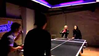 Nina Dobrev playing table tennis with the XXX cast
