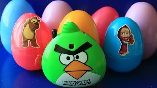 Surprise Angry Birds Cars 2 Kinder toys  Little Pony Маша и медведь