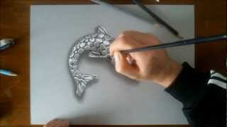 Speed Drawing: Silver Fish - How to Draw 3D art