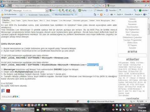 Msn'de Programsız Çoklu Oturum Açma-Windows 7'de