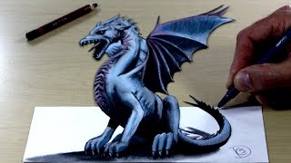 Trick Art on Paper, Painting 3D Dragon