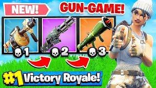GUN GAME *NEW* MODE in FORTNITE Battle Royale! (Challenge)