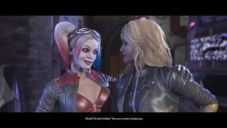 Injustice 2 Harley Quinn, Black Canary, And Green Arrow Meet in the Batcave