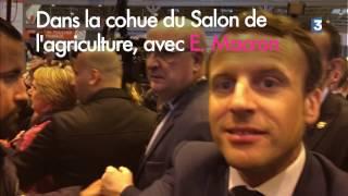 Dans la cohue du Salon de l'agriculture avec Emmanuel Macron