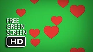 Free Green Screen - Heart Emoji Flying