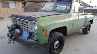 1975 Chevrolet K10 Stepside 4x4 GMC Chevy Pickup Truck 350 V8  Wench 4 Spd Video Review
