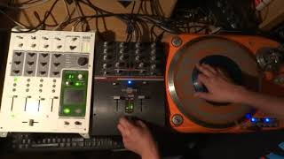 Scratch practice delay effects with DJ Tech SL 1300 MK6 turntable, an innoFader and Korg KM-402