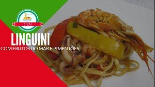 Linguini com frutos do mar e pimentões - Culinaria direto da Italia