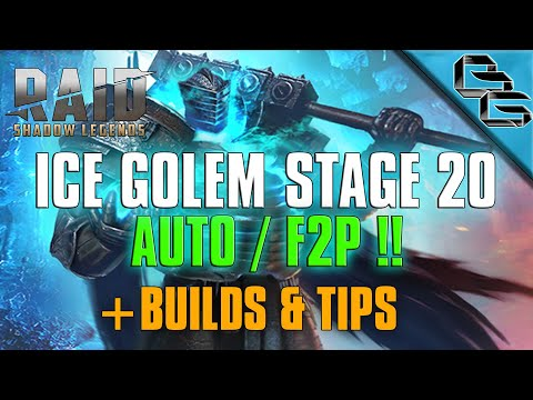 RAID: Shadow Legends | Ice Golem Stage 20 on Auto | + Builds & Tips | F2P First !?!?