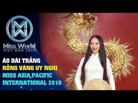 Thu Hiền diện áo dài trắng, mang rồng vàng quyền lực thi Miss Asia Pacific International 2019