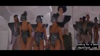 Amazon women whipping human chariot slaves (Gwendoline)