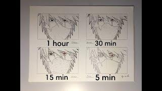 Drawing Kakashi in 60, 30, 15 & 5 minutes Speeddrawing #26    Aye am Tom Art