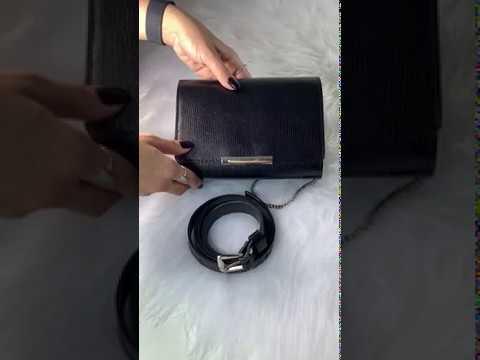 MÔNACO Bolsa pochete couro legítimo clutch com corrente preta