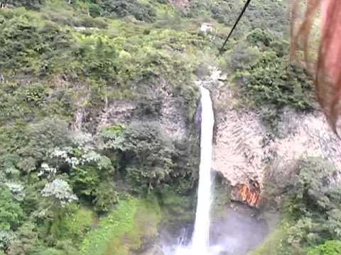 gondola over waterfall in ecuador