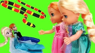 Elsa & Anna TURN small ! SNAKE Attack ! Toddlers are scared - Will they turn back to normal ?