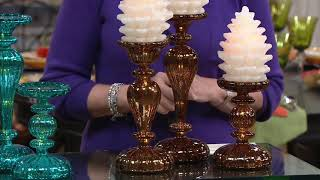 Set of 3 Illuminated Mercury Glass Pedestals by Valerie on QVC