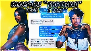 "BLUE FACE ""THOTIANA"" LYRIC TEXT PRANK ON INSTAGRAM MODEL"