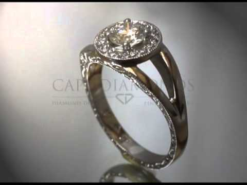 Complex stone ring,round diamond,small round diamonds around,baroque sides,engagement ring