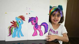 Diar Coloring My Little Pony Challenge With Mommy!! Markers, Crayons