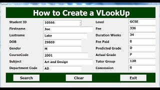 How to create vlookup in excel with vba using userform