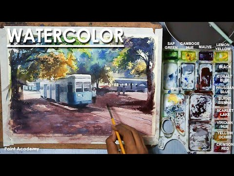 Watercolor Painting : A Composition on Kolkata, India | Tram Scene