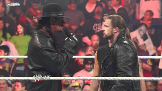 Raw: Shawn Michaels interrupts Triple H and The Undertaker width=