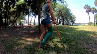 Long leg cast crutches green fiber for a normal day