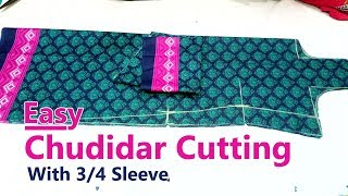 Chudidar cutting and stitching class for beginners with 3/4 sleeve easy chudidar cutting part-1 width=