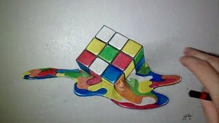 Drawing 3D rubik's Cube - Time Lapse