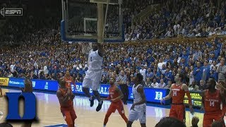 Duke's Zion Williamson Starts Game With Putback Dunk