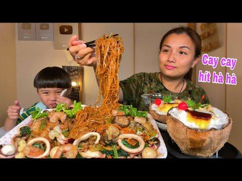 Hủ tiếu xào hải sản&bánh flan cherry dừa sáp dầm CHÂN ÁI của cuộc đời #985