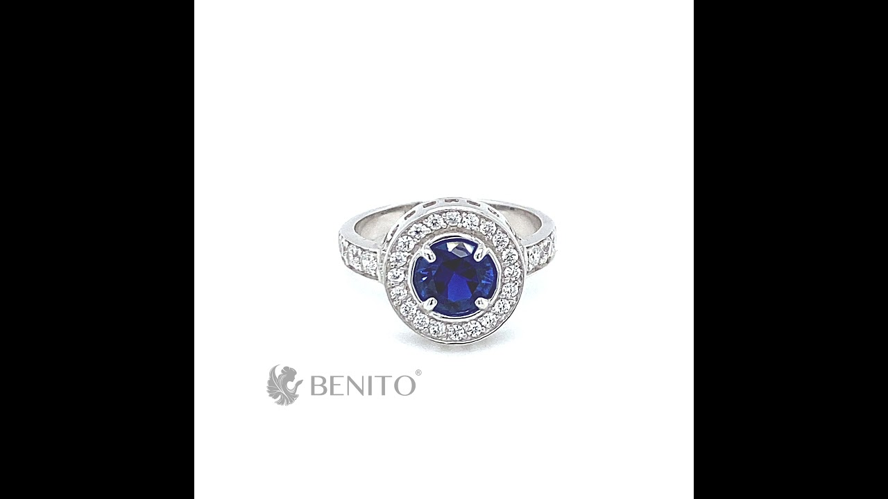 Viola Ring Blue Spinel and White Zircon Stones
