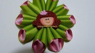 como hacer una flor combinada cono diy flor de listn