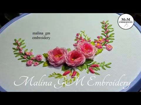 Roses embroidery| Looped blanked Rose |ЦВЕТОЧНАЯ ВЫШИВКА